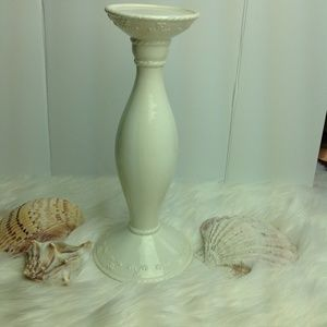 Candlestick White Ivory 12 x 5.5 x 3.5 w/ design